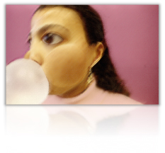 Computerized Image of Girl Blowing a Bubble